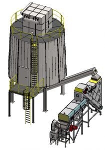 Silo with filter, recycling system for rockwool